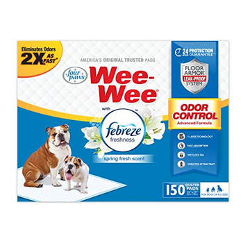 Odor Control with Febreze Freshness Pads are made with a 7-ply leak proof Floor Armor System that offers 24 hour wetness protection. These pads eliminate odors 2X as fast as original Wee-Wee Pads and leave a spring fresh scent. Odor Control w/Febreze Freshness Pads offer dogs and their pet parents more freedom and peace of mind.
