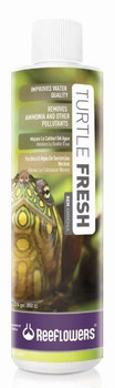 ReeFlowers Turtle Fresh is used to clean the pollution caused by freshwater turtle waste. It removes the ammonia released by decaying organic waste, which is toxic for living organisms. It improves water quality. It also helps clear the water from harmful chemicals following a treatment.