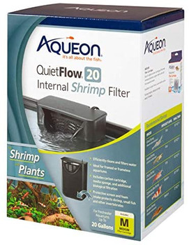 Aqueon QuietFlow? Internal Shrimp Filters are specially designed for freshwater aquariums containing shrimp, small fish and other invertebrates. This filter includes a protective intake grid and pre-filter foam sponge that prevents livestock from entering the filter housing. Maintenance is easy, simply remove, rinse and replace the intake grid and pre-filter. Each unit is preloaded with a replaceable Aqueon carbon cartridge. For easy placement, both hanging clips and suction cups are provided; use the hanging clips for aquariums with top frames and suction cups for frameless aquariums.