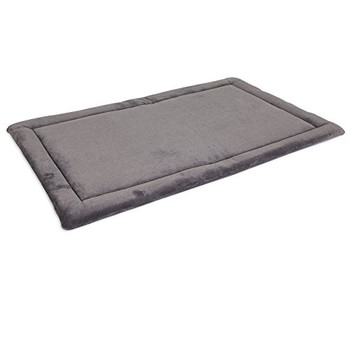 Designed for use in both wire and plastic kennels, this kennel mat is in a striped, two-tone tan fabric which coordinates with any decor. Top fabric is crafted from a soft woven plush and features a non-skid bottom. Cushy polyester batting fill provides comfort and warmth. Machine washable. Mat size 28-1/2 by 18-1/2-inch for use in intermediate wire and plastic kennels.