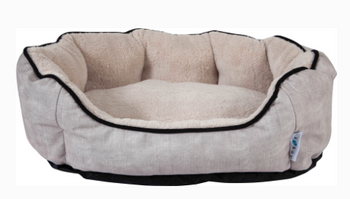 Small dogs and cats will adore this stylish cuddler with premium fabrics! Filled with Comfort Select virgin fiber with Never-Flat properties to provide superior loft and support. Black and white spencer plaid style features chenille outer fabric with an ultra-plush sleep surface and inner walls. Twill beige style features brushed textured print with a microlux plush sleep surface and inner walls.