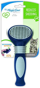 The Magic Coat Self-Cleaning Slicker Brush is specifically designed with a smaller head for cats, allowing for gentler detangling in hard to reach areas. The brush is designed to easily remove mats and dead hair while stimulating the skin and increasing coat shine. The easy to clean brush features a push button for quick removal of hair from the tool.