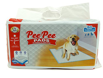 Pet Select Pee-Pee Pet Training and Puppy Pads use 5 layer technology to quickly absorb wetness and help control urine odor. Our quilted top layer drawers liquid into the absorbent core instantly and our leak-proof liner provides all day or all night protection for your floor and can handle multiple wettings. Pee-Pee Pads have a built-in attractant to help naturally draw puppies to the pads during training as well as adult dogs with indoor needs.