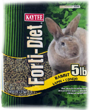 Kaytee Forti - Diet Rabbit Food is a pelleted diet that contains the necessary amount of fiber, protein and fat, along with added vitamins, minerals and amino acids small animals need for a healthy daily diet. Forti-Diet food is formulated for your pet's specific likes and nutritional needs. This wholesome formula is nutrient rich, specially developed to promote the health and appearance of your pet.