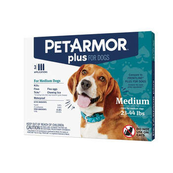 Protect your pet as they venture outside with the PetArmor Plus Flea and Tick Topical Treatment for Dogs. This topical pest control is waterproof to last through baths, play and more. The fast-acting treatment will quickly kill fleas, flea eggs, flea larvae, ticks and lice to keep your pup comfortable while also protecting your home from the nasty pests. With the same active ingredients as Frontline Plus, you can be assured that this dog treatment will do the job.