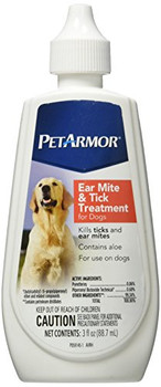 PetArmor Ear Mite & Tick Treatment for Dogs, 3-oz bottle; PetArmor Ear Mite & Tick Treatment for Dogs is a simple way to kill ticks and ear mites in dogs and helps relieve the constant itching caused by these pests. This powerful formula also contains aloe to help soothe your pets ears, and can be used on dogs and puppies 12 weeks of age and older. Treat your dogs ear mites quickly so he can get back to enjoying his life itch-free.