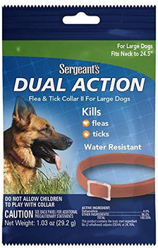 SERGEANTS FLEA & TICK DOG PUPPY DUAL ACTION COLLAR FITS UP TO 23? NECKS