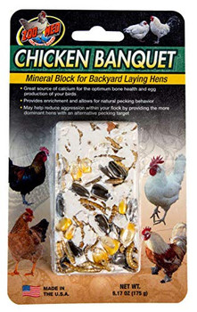Zoo Med #;s Chicken Banquet Mineral Block is designed for backyard laying hens to add necessary calcium to your bird #;s diet while also allowing for natural pecking behavior. This formula contains a mixture of dried mealworms and nutritious grains