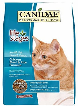 Felidae Chicken and Rice dry cat food is a holistic formula made with a single source protein of human grade chicken, brown rice and essential vitamins, amino acid, chelated minerals. Rich in Omega 6 and 3 fatty acids and skin and coat conditioners to help maintain a healthy luxurious coat. Contains cranberries for urinary tract health and is pH balanced to help promote the prevention of both urinary crystals and calcium oxylate stones.