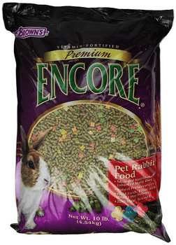 Brown's Encore Premium Rabbit Food, 10-lb bag; Brown's Encore Premium Rabbit Food is specially formulated to appeal to the tastes of pet rabbits and fortified with vitamins to ensure proper nutrition. This advanced daily diet includes a wholesome mix of carefully selected ingredients like field-fresh alfalfa hay that's high in fiber to help ease digestion. The enticing variety of shapes, flavors, colors and textures encourages foraging behaviors and satisfies the constant need to chew, which helps relieve cage boredom. ZOO-Vital baked biscuits provide prebiotics and probiotics for optimal digestion and essential nutrients for the overall well-being of your pet.