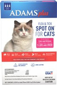 Adams Plus Flea   Tick Spot On for Cats and Kittens is a long lasting, quick drying topical designed to keep your pet protected from infestations for up to 30 days. Our formula contains an insect growth regulator (IGR) that breaks the flea and tick life c