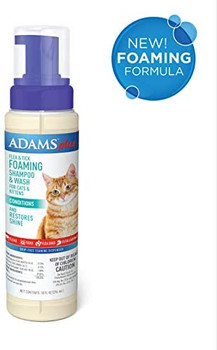 Adams Plus Flea   Tick Foaming Shampoo   Wash for Cats   Kittens with Oatmeal and Coconut, Gentle Deep Conditioning, Sensitive Skin Formula, 10 ounces. Adams Plus Flea   Tick Foaming Shampoo   Wash for Cats   Kittens is a sensitive skin formula that conta