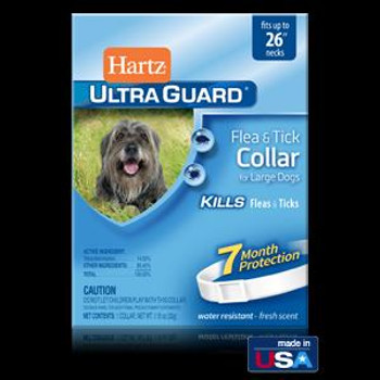 Hartz Ultra Guard Flea & Tick Clr Large Dog Wte <26""