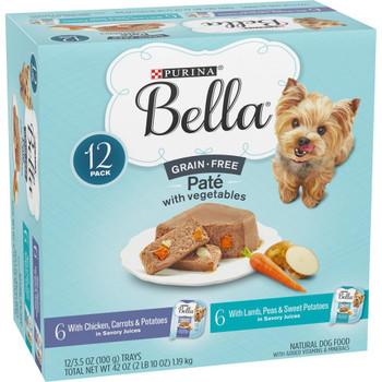 Bella Grain Free Chicken & Lamb Pate Variety Wet Dog Food 3.5Z 12ct