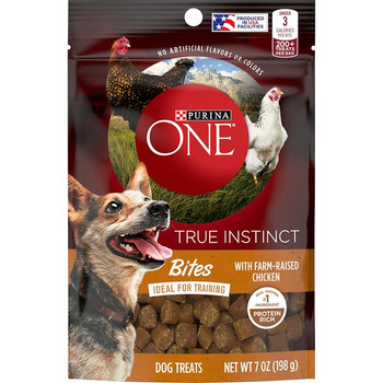 Under 3 calories per bite. No artificial flavors or colors. Bites - ideal for training. Real chicken No. 1 ingredient. Protein rich. Train his wild side. Help satisfy your dog's natural instinct with these tender, protein-rich bites. Made with real, farm-raised chicken as the No. 1 ingredient, these bite-sized treats will drive your dog wild from treat time to training time - and anytime in-between. Under 3 cal. Low-calorie treat. With added vitamins & minerals. Ideal for training. 200+ treats per bag. Calorie Content (calculated): 2915 kcal/kg, 2.5 kcal/piece. Low calorie treat. Proudly produced in Purina-owned USA facilities. Printed in USA.