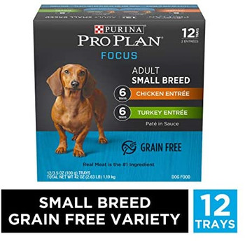 This pack contains 12 cans of two delicious, grain-free recipes?Turkey Entr'e and Chicken Entr'e. Each high-protein meal is crafted for small breeds and features real turkey or chicken as the very first ingredient for the high-quality protein your buddy needs to help maintain lean muscle. To ensure your canine companion gets the first-class meal he deserves, every can is 100% free of artificial colors, flavors and preservatives. And keeping sensitive pups in mind, you?ll never find any corn, wheat or soy in these ingredients. Pop open a can and let your favorite furry friend taste the wholesome goodness of Purina Pro Plan as a standalone meal or with his favorite kibble!
