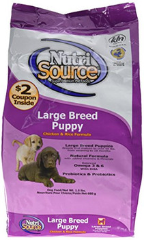 NutriSource Large Breed Puppy Chicken and Rice Formula Dog Food provides super premium nutrition in a scientifically formulated easy-to-digest food designed for puppies of breeds that will mature at more than 50 pounds. This is formulated to provide proper nutrition for balanced muscular and skeletal growth in large and giant breeds, avoiding joint problems later in life. NutriSource Large Breed Puppy contains specially adjusted levels of calcium and phosphorus matched with balanced protein fat carbohydrates and calories to supply large breed puppies the nutrition to grow and develop to fullest potential. Features: Bio-available for your beloved pets growth and development NutriSource's revolutionary supplement system, Good 4 Life, includes 4 key ingredients. They work together to condition, repair, and promote gut health in all animals-often improving health with the first feeding Cooked with fresh humanely certified chicken raised on farms From NutriSource's family to yours - family owned means they can make decisions based on what's best for your family pets Specifications: Crude Protein (Min.): 26% Crude Fat (Min.): 14%