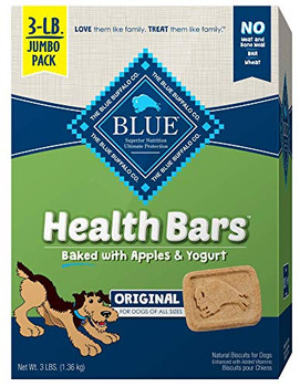 Tasty and healthy - the perfect complement to your dog's wholesome diet. Natural Blue Health Bars feature delectable flavors and crunchy textures your dog will love munching away at - while they're helping to clean his teeth, too. But here's the best part: you can feel good knowing he's eating healthy too.