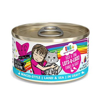 Duck & Tuna Dinner in Gravy Grain-Free Canned Cat Food. Made with duck broth, duck and tuna as the top ingredients, plus essential vitamins and minerals, it provides a gravylicious and balanced diet for adult kitties. Since it?s packed with broth, it?s a great way to add much-needed hydration to keep your pal healthy. Plus, it?s made with sustainably sourced ingredients in state of the art food facilities with nothing artificial.