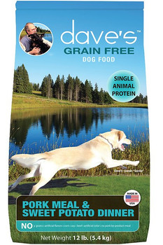 Dave's Pet Food Grain-Free Pork Meal & Sweet Potato Dinner Dry Dog Food, 12-lb bag; With Dave's Pet Food, you can offer your pup a meal chock full of everything she needs. This grain-free meal features pork meal as the only source of animal protein?so it's safe for those pups who are sensitive to other proteins. It's boosted with nutrient-rich ingredients like lentils and chickpeas, which are excellent sources of fiber and complex carbohydrates for energy that lasts! Plus, it contains omega 6 and omega 3 essential fatty acids to support healthy skin and a shiny, lustrous coat, and prebiotics to support your pal's digestive system. Never Run Out with Autoship - Easy Repeat Deliveries.