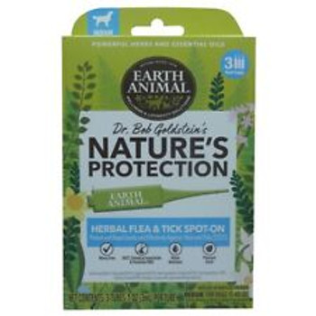 Earth Animal Nature's Protection Herbal Spot-On provides a naturally effective alternative to topical flea & tick repellent treatments made with harsh chemicals and insecticides. Formulated by Dr. Bob Goldstein, this product features a natural blend of aromatic herbs and soothing essential oils with a fresh, minty fragrance that protects the skin from biting fleas and ticks.