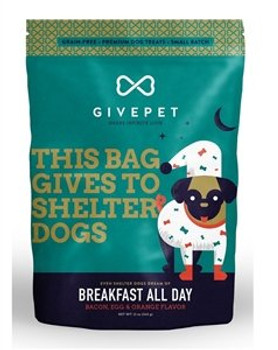 What's better than eggs, bacon and hash browns for breakfast? For loving dogs looking to please their humans or prepare themselves for adoption, the answer is eggs, bacon and hash browns all day long. Get the treat that delivers all your favorite diner flavors, without the greasy spoon. . Grain Free, No Artificial Colors, No Artificial Preservatives, No added salt or sugar. Feed as a treat. Ingredients: Bacon, Peas, Potatoes, Chickpeas, Lentils, Tapioca, Tomato Pomace, Canola Oil, Carrots, Egg Powder, Dried Citrus Pulp, Celery, Beets, Parsley, Lettuce, Watercress. Made in USA