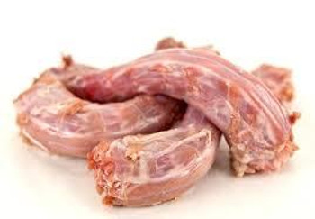 Raw frozen duck Necks. Excellent raw meaty bone for cleaning teeth.