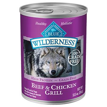 BLUE BUFFALO DOG WILDERNESS BEEF & CHICKEN GRILL 12.5OZ