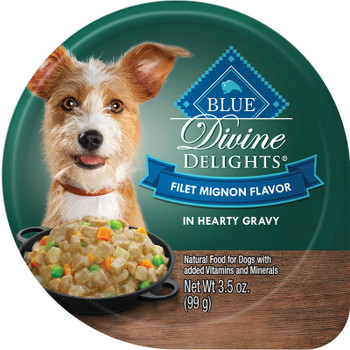 BLUE BUFFALO DOG DIVINE DELIGHTS FILET MIGNON IN GRAVY 3.5OZ CUP