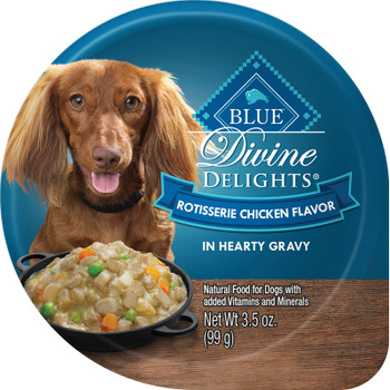 BLUE BUFFALO DOG DIVINE DELIGHTS ROTISSERIE CHICKEN IN GRAVY 3.5OZ CUP