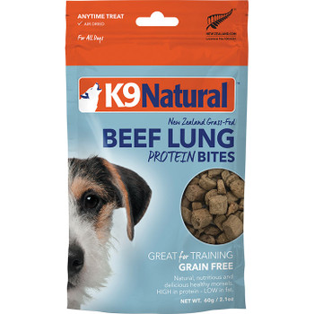 K9 NATURALS DOG AIR DRIED BEEF LUNG BITES 2.1OZ