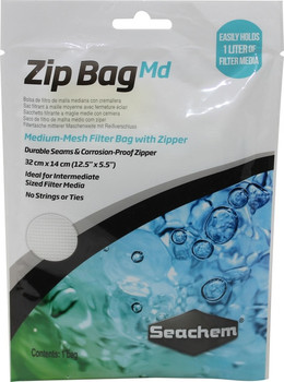 Zip Bag - Md Mesh -Medium Mesh Filter Bag with zipper, Ideal for medium sized media such as Matrix Carbon or Phosguard. Corrosion-proof zipper, 32 cm x 14 cm (12.5 x 5.5). No strings or ties
