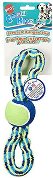 Colorful ropes are brightly colored and perfect for tug, toss and squeaky play time. Features a tennis ball in the center and bungee handles for tug-o-war.