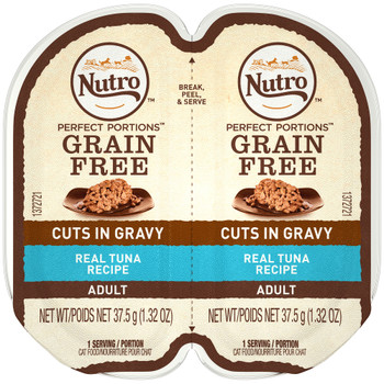 NUTRO PERFECT PORTIONS Adult Cat Food Trays allow you to feed your cat wet cat food without the mess of leftovers in your refrigerator. Made with real tuna as the first ingredient, this grain-free cat food contains no artificial flavors, colors or preservatives ƒ?? only high-quality ingredients and nutrition in every serving. With NUTRO PERFECT PORTIONS Adult Cat Real Tuna Cuts In Gravy Recipe Cat Food Trays, your cat gets a fresh meal every time.