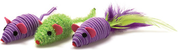 Thrice the mice, thrice the fun! Toys rattle for kitty¡s delight. Variety of tempting textures.