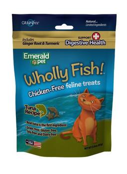 Emerald Pet Wholly Fish! Tuna plus Digestive Health Cat Treat 3oz