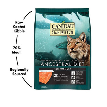 Just like their feline ancestors, cats thrive on a diet high in animal ingredients. Our CANIDAE Grain Free PURE Ancestral Diet formulas are made with abundant amounts of real meats and fish then freeze-dried raw coated for the amazing taste cats crave and the powerful nutrition they need. Satisfy the wild side of your favorite feline with these grain free formulas!
