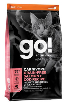 Some cats have decidedly carnivorous preferences. This grain-free, protein-rich recipe provides complete & balanced nutrition to help your cat stay healthy, fit and playful. This recipe also features:. Premium quality salmon, cod & trout, plus omega oils. Fruits & veggies, with antioxidants to support immune system function, plus taurine to aid vision and heart function. Probiotics and prebiotic fibre promote healthy gut bacteria and good digestion. 0% by-product meals, added growth hormones, artificial preservatives, wheat, corn or soy. Grain & gluten free recipe.