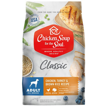 Chicken Soup for the Soul Classic Adult Dog Food features real chicken and turkey as the first two ingredients. This great tasting, holistic diet includes omega 3 & 6 fatty acids for healthy skin and coat, prebiotic fiber for healthy digestion, and glucosamine and chondroitin for joint support. With no by-product meals, wheat, corn or soy and no artificial colors, preservatives or flavors.