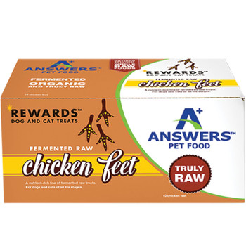 ANSWERS DOG CAT FROZEN FERMENTED RAW CHICKEN FEET 10 COUNT