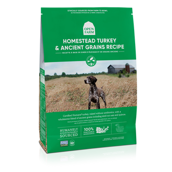 This tasty high protein, gluten-free meal is loaded with Certified Humane turkey that?s free of antibiotics and growth hormones, wholesome grains like steel-cut oats, quinoa, and chia seeds and superfoods like coconut oil, pumpkin and turmeric. It?s dry good-for-your-pup food.