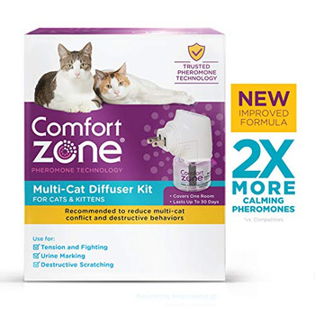 Comfort Zone MultiCat Calming Diffuser Kit, New 2X Pheromones for Cats Formula, 1 Diffuser and 1 Refill. Comfort Zone Multi-Cat Diffusers reduce multi-cat tension and conflict by releasing drug-free, odorless, calming pheromones that mimic cats' natural, calming pheromones for up to 30 days. Less stress in the home will reduce bad behaviors between cats like multi-cat tension, conflict, or hissing.