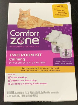 Comfort Zone Calming Diffuser Kit, New 2X Pheromones for Cats Formula, 2 Diffuser and 2 Refill.  New and improved Comfort Zone Calming Diffusers release calming pheromones that mimic cats' natural, calming pheromones for up to 30 days, signaling to your cat he or she is in a safe and familiar place. This puts less stress on your cat, reducing stress response behaviors like destructive scratching and urine marking.