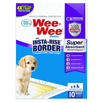 Wee-Wee Pads with Insta-Rise Border- Super Absorbent, provides the ultimate safeguard protection against leaks and liquid runoffs- A first of their kind, these pads combine 2X the absorption capacity with 4-sided wetness activated technology that creates rising borders where exposed to liquids, ensuring the driest floors and easiest clean-up available!- 6 layer pad with wetness activated rising perimeter border offers 4X leak and runoff protection- Over 24 hour wetness protection