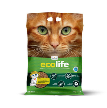 Ecolife is an eco-responsible litter made from 100% natural and biodegradable ingredients.ÿIts absorbency makes it easier to clean the litter box and generates less waste.ÿIt offers optimal odor control and does not release dust.ÿEcolife is extremely lightweight which makes it easy to carry and pour into your bin.ÿIt is soft and comfortable for your cat's paws and can be used with kittens as well as adult or older cats.