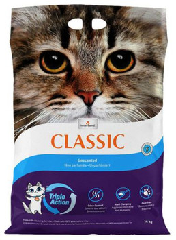 Classic Clumping Litter is made from pure natural clay.ÿThanks to its innovative, exclusive and patented Triple Action system, it prevents bad smells for maximum efficiency.ÿIts powerful absorbency makes it possible to form superhard agglomerates that facilitate cleaning and reduce the amount of waste produced.ÿIt leaves almost no dust, does not harm the respiratory tract of cats and humans and leaves no trace in the house.