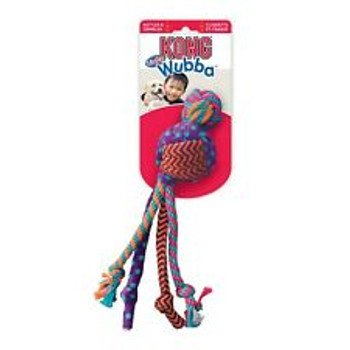 A tug and fetch toy with a colorful combo of irresistible textures, KONG Wubba Medley satisfies dogs' natural instincts to chew and shakeƒ??the fabulouslyfloppy tails are so much fun to thrash! Chewing on the rope helps clean teeth; rattling top and crinkling tails keeps dogs playing longer for tons ofhealthy activity.