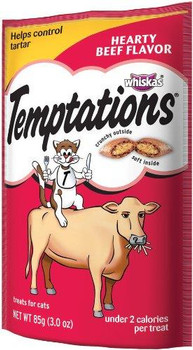 Mars Whiskas Temptations Hearty Beef 12/3Oz Pouch