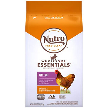 Each NUTRO WHOLESOME ESSENTIALS Dry Cat Food recipe starts with a high-quality protein source and is made with non-GMO ingredients.* This kitten food features real chicken as the #1 ingredient, omega 3 fatty acids for growth and development, and essential antioxidants like DHA for a healthy immune system. This kitty kibble is also crafted with calcium to build strong bones and joints in your growing kitten. NUTRO Dry Cat Foods are made with quality ingredients carefully sourced from a trusted network of farmers and suppliers and have no corn, wheat, or soy protein, no chicken by-product meal, and no artificial preservatives, flavors, or colors.