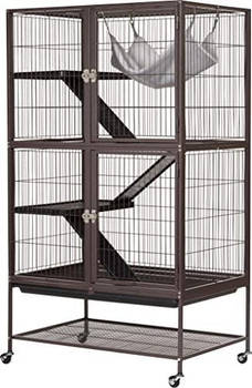 Prevue Pet Products Ferret Delight 431 offers plenty of space for even the most energetic adult ferrets to run, jump and play. Cage comes complete with ramps, shelves, and even a hammock to keep your fuzzy friend entertained and content.?ÿ Featuring two large doors, you are